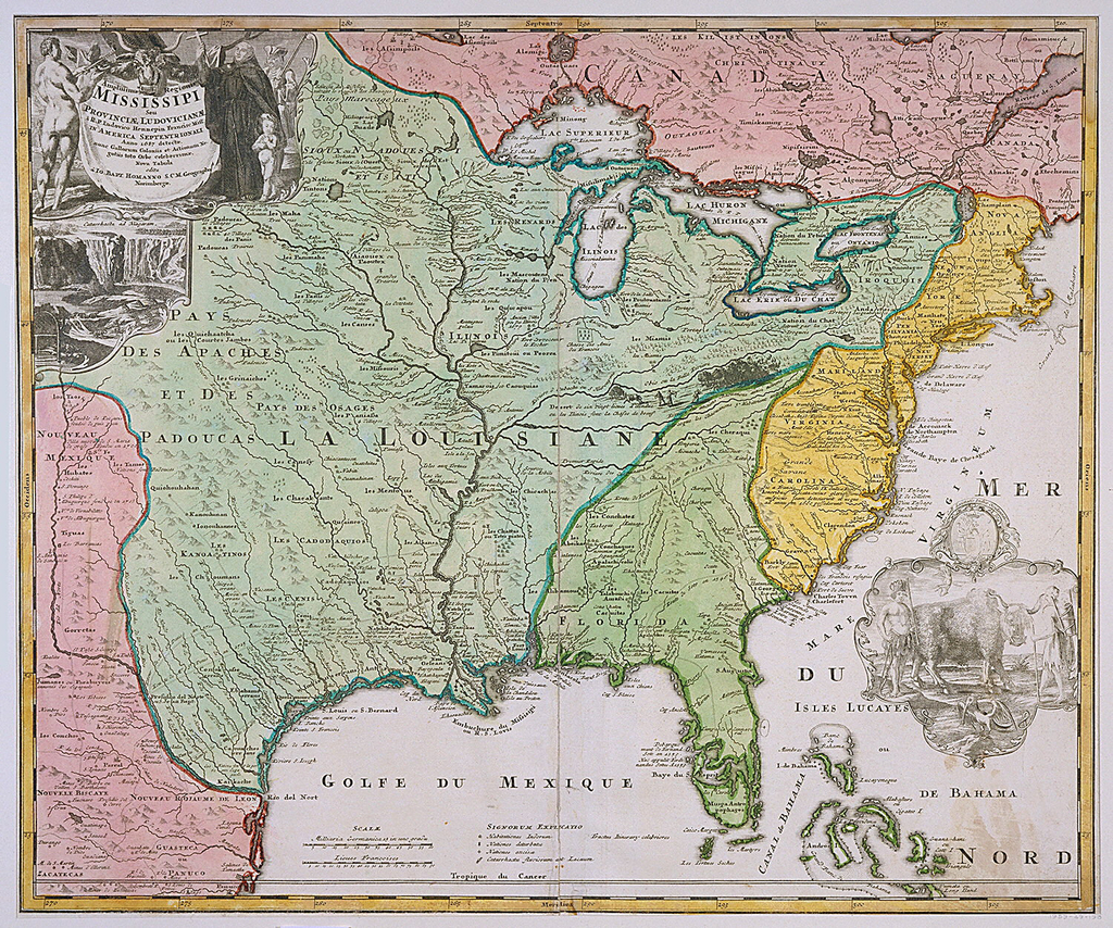 Map of Louisiana shows the Eastern part of the United States up to Canada; different colors are used for Louisiana (green), Eastern States (yellow), New Mexico (pink) and Canada (pink). On upper left corner, title of map embellished with an allegorical figure; below view of Niagara Falls.  In lower right corner, a vignette with the coat-of-arms of Lns.  Gall Societatis Indiae Occidentalis and below and Indian man and woman with a bull. (OPB '59)