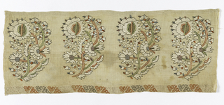 Towel end embroidered in a design of flowers and leaves on a curving stem repeated four times. A narrow border shows drawnwork with a darned motif of triangular shapes.