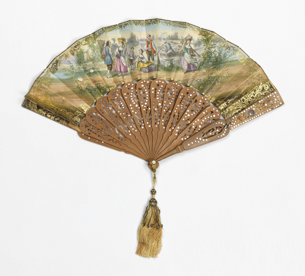Pleated fan. Gilded paper leaf with hand-colored lithograph. Obverse: rustic fisherpeople against a landscape with water, and scrolling gold borders. Sticks are sandalwood with pierced designs and inlaid steel discs. Brass ball with silk and metal thread tassel.