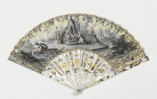 Gilded and gouache-painted skin leaf. Obverse in grisaille: female and warrior figured laying flowers upon a tomb. Reverse in grisaille: Italian landscape. Sticks and guards, pierced mother-of-pearl with metal foil, showing putti with birds.