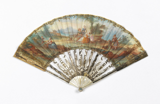 Pleated fan with a gilded parchment leaf painted with watercolor. Obverse: figured in 18th-century costume in landscape. At left, a mother and child with hoop. Reverse: paper painted with scenes of youth and maiden seated in landscape. Carved and pierced mother-of-pearl sticks with gold foil, obverse decorated with medallions and cartouche. Pin is set with a faceted light blue stones.