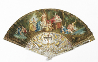 Pleated fan. Parchment leaf gilded and painted in watercolors. Obverse: birth scene in woodland setting with mother reclining on couch while the child is washed and attended by maidens. At right, river gods. Reverse: a central cartouche portrays Venus and Cupid in a landscape setting. Carved and gilt mother-of-pearl sticks with gold and silver foil. At center, two couples sitting beneath an arcade, surrounded by putti and scrolls.