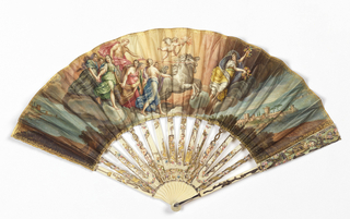 "Pleated fan. Parchment leaf painted with classical scene after the fresco called ""Aurora and the Hours."" Small gilt-scroll borders. Reverse: painted with outdoor scene. Carved and pierced mother-of-pearl sticks overlaid with gold and silver leaf, spangles and painted details."