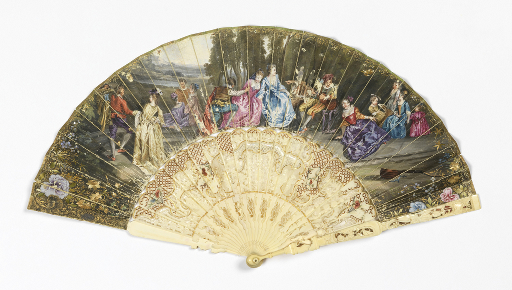 """Pleated fan. Parchment leaf painted in watercolor. Obverse: scene of figures in a landscape after """"L'Assemblée Galante"""" of Jean-Antoine Watteau. Reverse: Chinoiserie scene with a man and woman in a landscape with a boat and a bare tree. Guard and sticks of pierced and carved mother-of-pearl with gold foil. Gorge covered with a diaper pattern of applied straw, showing an elaborately carved and pierced rocaille framework enclosing figures."""