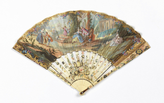 Pleated fan. Parchment leaf backed with paper. Obverse painted in gouache and gold: a landscape with figure groups in front of a building with large fountain. Reverse: landscape with single figure. Pierced and carved ivory sticks with colored and gilded flowers and birds. Tortoise shell at rivet.
