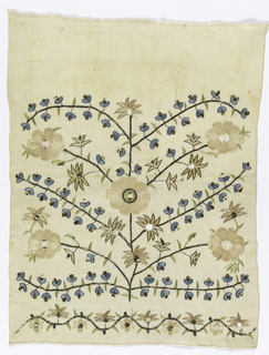 Rigid symmetrical design of large, pale pink full-face flowers on center stem and on side stems alternately filled with tiny blue flowers with metal tongues. Flowers on serpentine stem form guard-band at bottom. Pastel silks, metal on silk and flat metal on undyed linen ground. One plain selvage with two-handed finished edges.