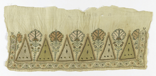 a/b) Fragment of border, probably a towel embroidered in silk and metal with areas of punch work. Stiff carnations between triangular shapes with narrow flower border and edges unhemmed. c/d) two pieces taken apart previusly joined with handwoven cotten and embroidered in silk and metal with flower sprays in multicolor and both selvages.