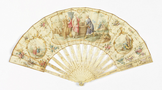 "Pleated fan. Parchment leaf painted with watercolors. In the center ""Rebecca the Well"" enframed by gold-colored outlines. Parchment is edged with a gold color on all four sides and between are scenes with floral garlands. Carved ivory sticks showing cherubs, plants and trellis work, wooden splints. Mother-of-pearl washer at rivet."