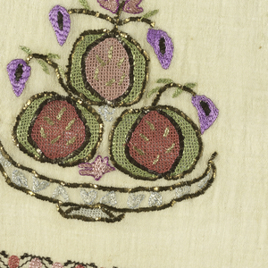 Border fragment embroidered in a multicolored design of stylized fruit and flowers in a shallow bowl. Zigzag border with dark and light pink dots.