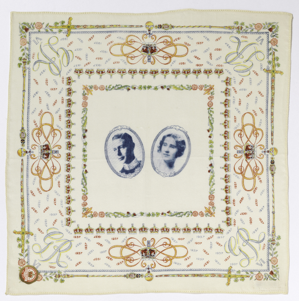 """White souvenir handkerchief printed in a multicolored design showing a central square with oval medallions containing portraits of King George VI and Queen Elizabeth. In each corner: """"GR VI."""" Broad border of crowns, sceptres, swords, roses, thistles, shamrocks and the year 1937."""