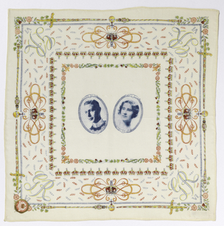"White souvenir handkerchief printed in a multicolored design showing a central square with oval medallions containing portraits of King George VI and Queen Elizabeth. In each corner: ""GR VI."" Broad border of crowns, sceptres, swords, roses, thistles, shamrocks and the year 1937."