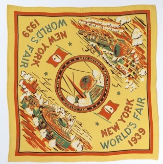 "Souvenir handkerchief issued on the occasion of the 1939 World's Fair in New York. In the center medallion is a view of the Trylon and Perisphere; in two corners are  aerial views of the Flushing Meadows site; and in the two alternate corners ""New York World's Fair 1939"" with the fair flag featuring the Trylon and Persphere. Printed in orange, green and brown on a yellow ground."