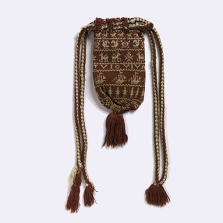 Red and white silk knitted bag with drawstring top and tassel at bottom. Ornamented with bands of spot motifs including ships, figures, birds, etc.
