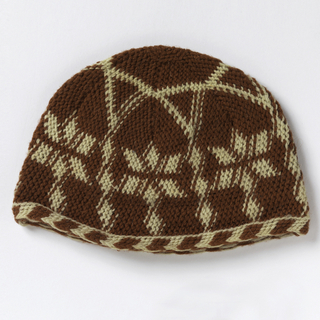 Knitted wool cap with a design of overlapping arches, each with a six-pointed star, in white wool on a rust-red ground.  Chevron border at lower edge of alternating red and white.