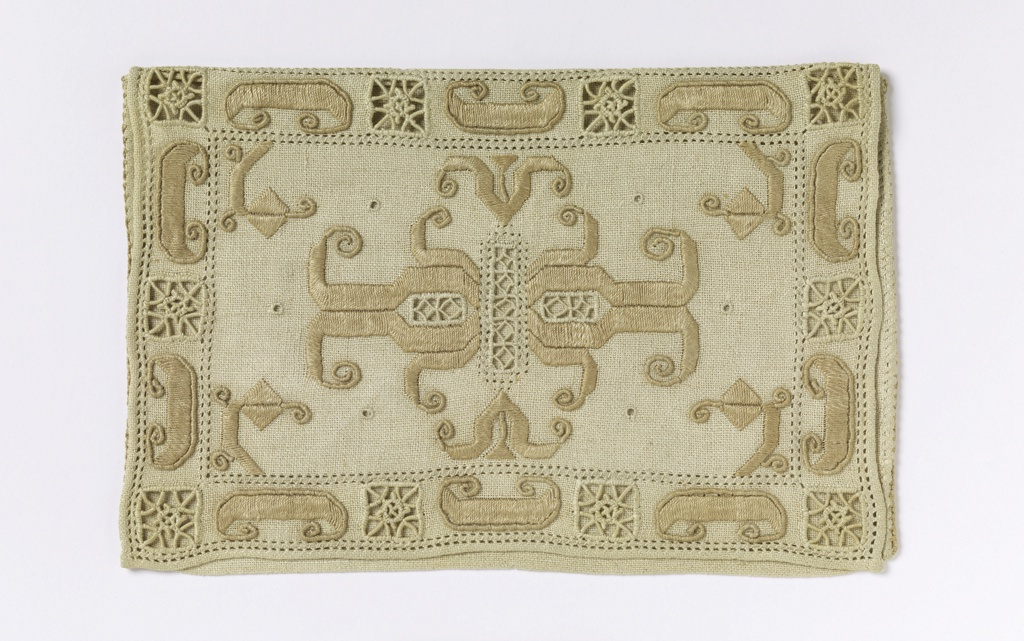 Small pouch with an embroidered flap decorated with cut and drawn natural linen and toned linen embroidery and needle work fillings.