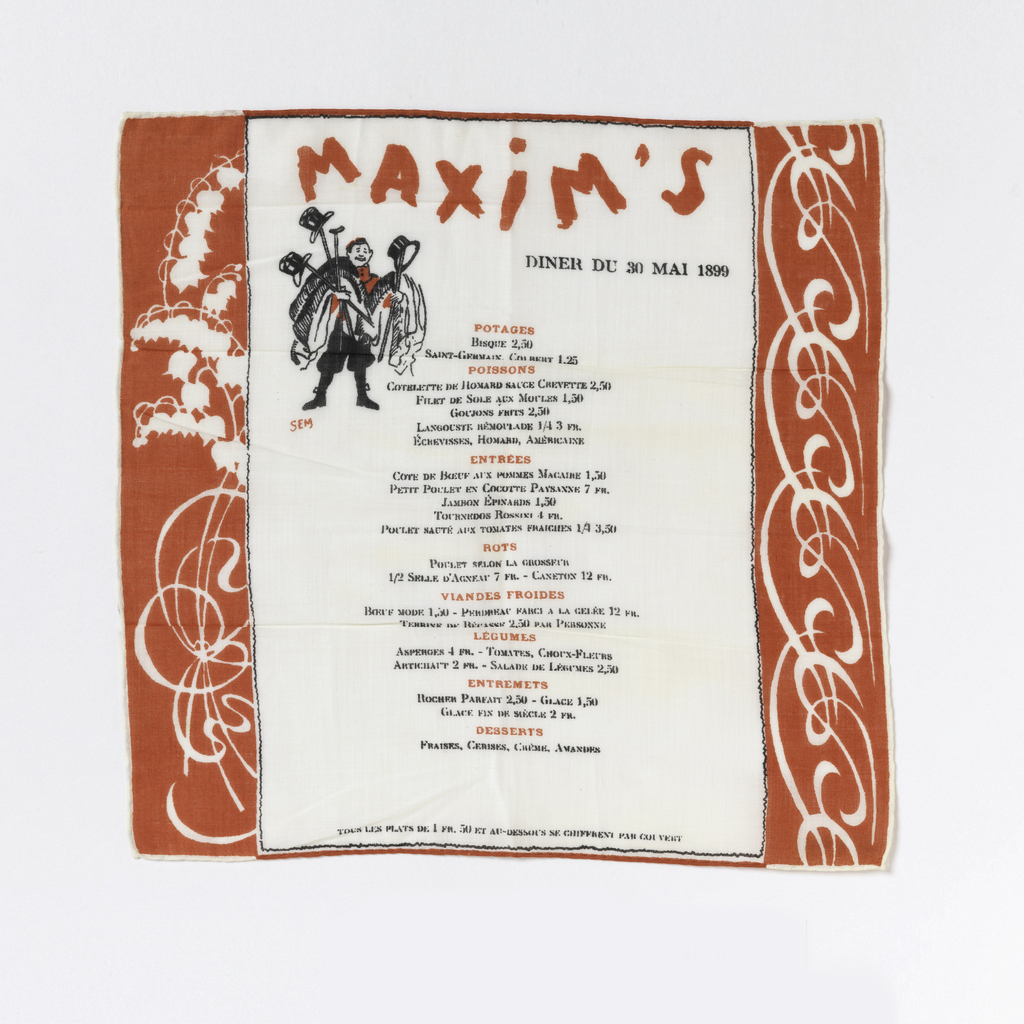 """Red border on left and right side """"MAXIM'S / DINER DU 30 MAI 1899"""" menu Colors: red and black on white background"""