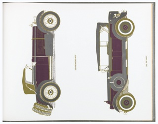 """Small scale representations of designs to be printed as large scale murals: overscale weeds, geometricized flowers, building facades, sun face, Oriental carpet, letter forms, linear composition suggesting landscape, eagle, playing cards, trees, 1920s fashion models, antique automobiles. The titles include: """"Ode to a Wild Carrot"""", """"Memento of a Summer Past"""", """"Around the Corner on 8th Street"""", """"Hyperion"""", """"Abracadabra"""", """"Writing on the Wall"""", """"A Gentle Pleasure-Roaming in Indiana"""", """"Nighthawk"""", """"Mississippi"""", """"Beyond the Path-You Can See the Sky"""", """"Age of Innocence"""", and """"Memorabilia""""."""