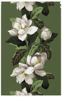 White magnolia flowers with yellow centers and grey shading running in a vertical stripe on a dark green ground.