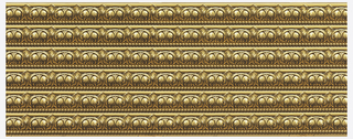 Wallpaper roll. Printed six across, stylized acanthus leaves above a single row of strung beads. Printed in brown, tan and orange on brown ground.