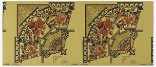 Large anglo-Japanesque ceiling corner border in fan shape, with the main focus having the appearance of a folded wallpaper border, containing many red roses. A fleur-de-lis is at the one corner.  Contains illustration showing application for use as a border corner or a medallion.