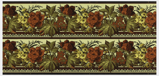 Wallpaper roll. Printed two across, red and yellow flowers with large foliage, printed on beige ground.