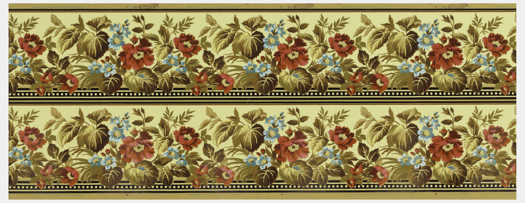 Wallpaper roll. Printed two across, red poppies and smaller blue flowers with large foliage, printed on beige ground.
