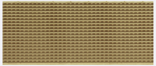 Wallpaper roll. Multiple bead-and-reel borders printed across width. Printed in shades of brown on tan ground.