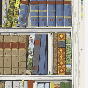 """A partial roll, containing two and one half repeats. Each repeat contains four shelves of books, including """"Normandy"""", """"Indian Tales"""" and """"Ancient Egypt"""". Screen printed in 18 colors."""