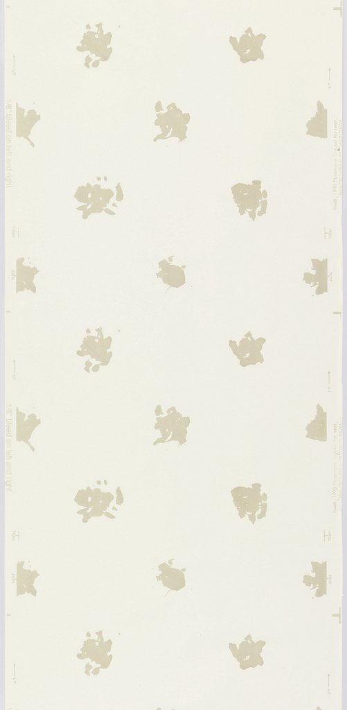 Repeating design of widely-spaced irregular circular shapes, printed in taupe flock on a very pale beige or taupe ground.