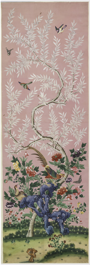 Large central motif of flowering tree, with white leaves and flowers at top, brightly colored flowers and exotic birds near bottom, along with rocky formations. Three smaller birds fly among the branches near top of tree. Painted on pink ground.