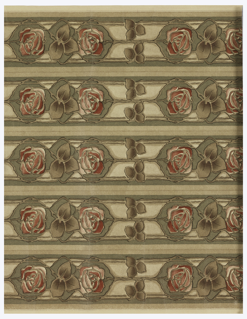 A pair of very stylized red roses, separated by foliage. Printed five across, in red and brown on tan paper.