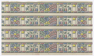 Floral and geometric border. Motifs have the appearance of mosaics, with floral sprigs in between. Printed in pink, blue, green, yellow and lavender in a gray framework. Black highlights are added to give a 3-D look. Printed on off-white ground. The width has been cut with four borders remaining.