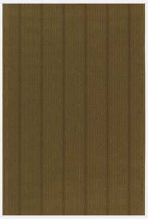Stripe design, with dominant stripe composed of squares with circles. Between these stripes are very fine stripes, with the central stripe composed of dots. Printed on tan oatmeal paper.
