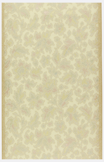 Vining floral pattern, printed in imitation of tapestry. Printed in very muted colors on a light yellow background. Ungrounded.