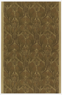 All-over pattern of leaves and berries. Printed in shades of brown on off-white ground.