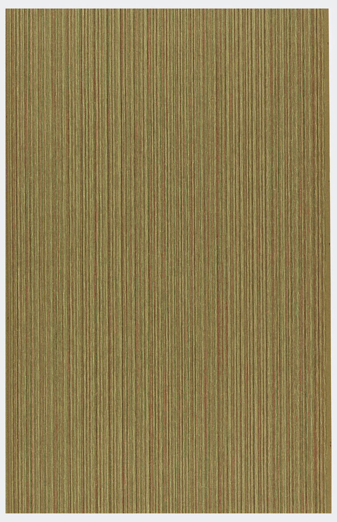 Very subdued stripe pattern. Printed in red, green and brown.