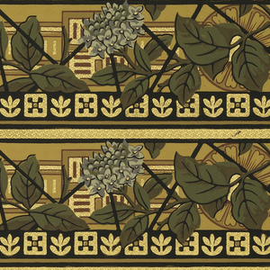 Printed four across: Anglo-Japanesque design with sunflowers, smaller red and blue flowers, and band of black and white cubes running across the bottom edge.
