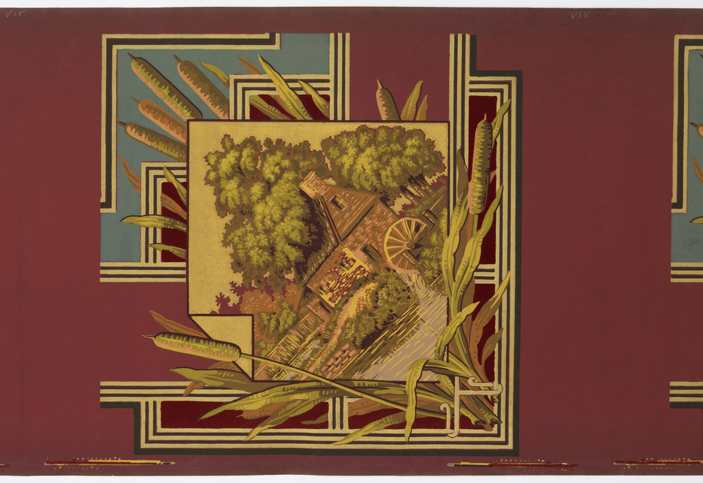 Wallpaper roll and separate piece. Ceiling border corner with landscape containing a mill, water wheel, cat tails in framework around scene. Printed on burgundy ground.
