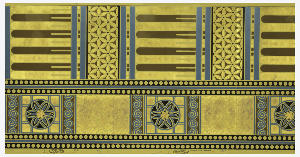 """Pattern contains two bands of distinct designs. Dado paper with slightly narrower band of circle in a square, alternating with a plain panel. Wider band contains fluted or reeded section alternating with stylized floral motifs. narrow bands of beading separate the two bands. Printed in blue, black and metallic gold on beige ground. Printed in left selvedge: """"A.W.P.M.A. 556""""."""