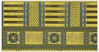 "Pattern contains two bands of distinct designs. Dado paper with slightly narrower band of circle in a square, alternating with a plain panel. Wider band contains fluted or reeded section alternating with stylized floral motifs. narrow bands of beading separate the two bands. Printed in blue, black and metallic gold on beige ground. Printed in left selvedge: ""A.W.P.M.A. 556""."