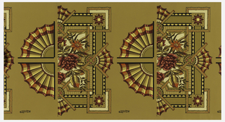 Wallpaper roll. Ceiling border corners and ornaments: in the Anglo-Japanesque style, containing fans and roses. Printed in red, tan and black on ocher ground.