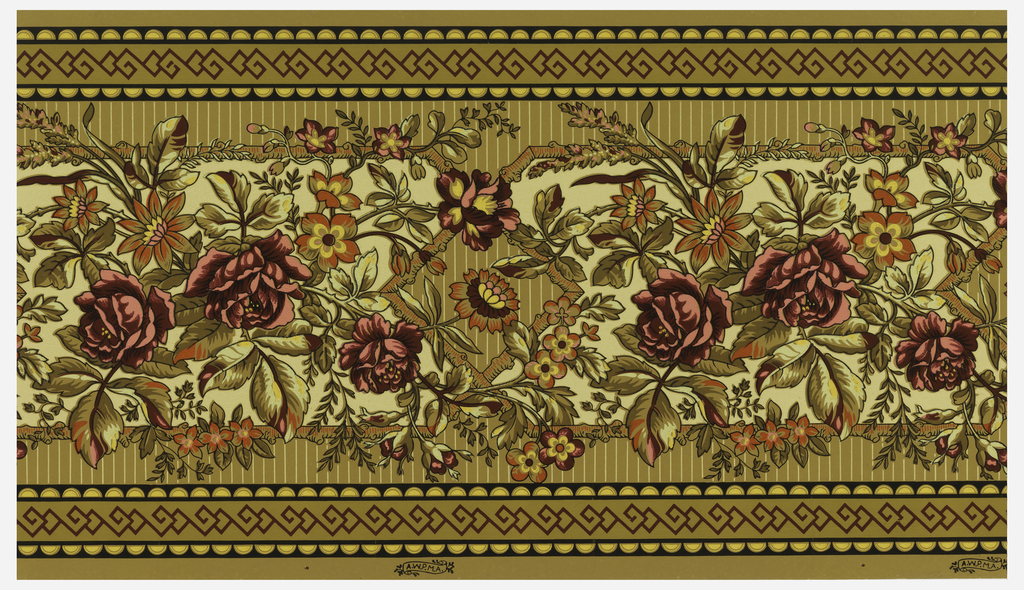 "Frieze or dado in Anglo-Japanesque style. Large red roses with other flowers printed on tan ground set within a rustic stick framework. Printed in striped ground. Ocher band with strapwork running along top and bottom edges. Printed in selvedge: ""A.W.P.M.A."""