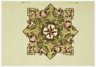 Ceiling medallion: central eight-pointed star surrounded by large red roses and foliage, set within a square framework. Printed on tan ground.
