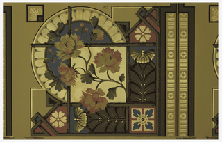Wallpaper roll. Large-scale floral branch set within a circular medallion. Stylized foliate motifs on two sides. Printed in shades of mauve, blue, tan and brown on metallic gold, textile-embossed ground.