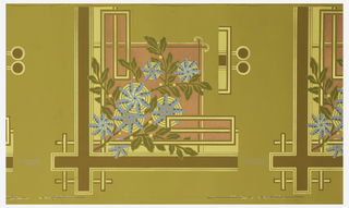 Wallpaper roll. Blue daisy-like flowers with green leaves printed on metallic copper background with gold and brown framework.