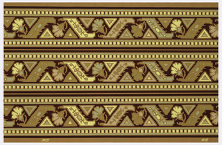 Wallpaper roll. Printed three across, floral motifs printed within zig-zag design. Dentil motif running along either edge. Printed in gold and tans on ocher ground.