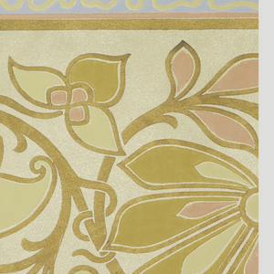 """Wallpaper roll. Large scrolling foliate motif printed in salmon and ocher against tan mica ground. Wide light blue band with """"worm-hole"""" motif along either edge."""