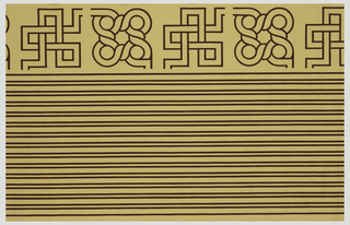 Wallpaper roll. Narrow pairs of parallel lines filling about two-thirds width of paper. Border corners fill the remaining third, with both round and square motifs. Printed on beige ground.