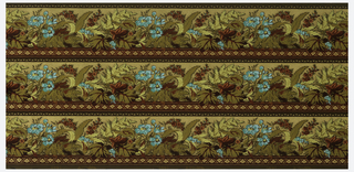 Printed three across, turquoise blue and maroon flowers with foliage. Printed on emobssed metallic gold ground.