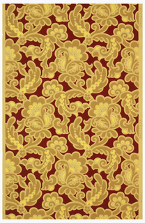 Scrolling, stylized floral and foliate motifs. Printed in yellow, ocher and red on ocher ground.